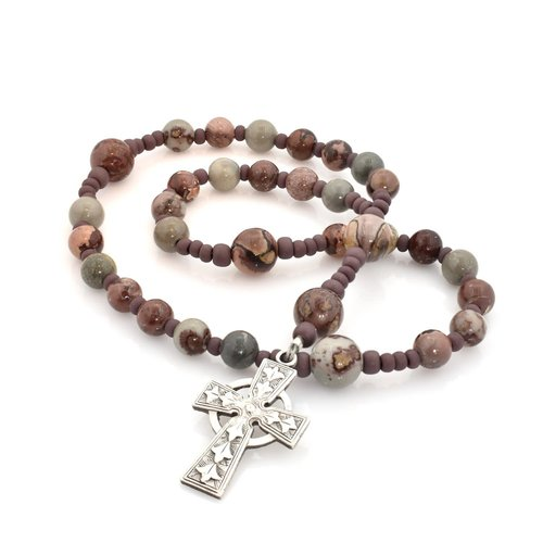 ANGLICAN ROSARY -  Celtic Cross -  Crazy Horse Jasper by FULL CIRCLE BEADS
