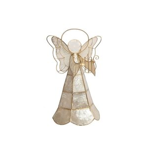 "Capiz Tabletop Angel 9""with Lyre by Dekorasyon"
