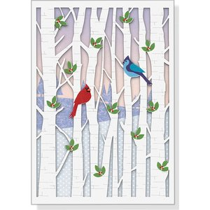 Laser-Cut Birds in Birches Boxed Christmas Cards