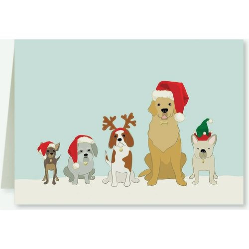 Santa Dogs GOLD ACCENT Note Cards