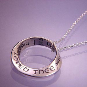 "LAUREL ELLIOTT NECKLACE ""I HAVE LOVED THEE WITH AN EVERLASTING LOVE"" STERLING SILVER MOBIUS by Laurel Elliott"