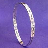 ALL SHALL BE WELL Sterling Bangle Bracelet by Laurel Elliott