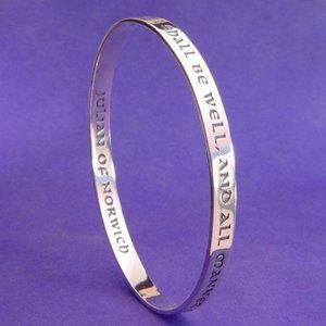 LAUREL ELLIOTT ALL SHALL BE WELL Sterling Bangle Bracelet by Laurel Elliott