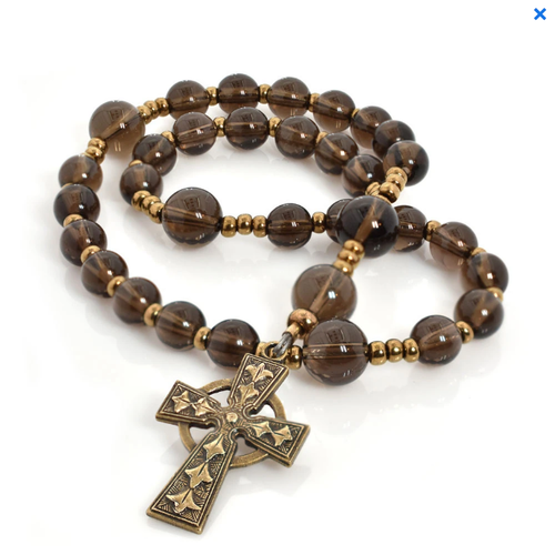 ANGLICAN ROSARY - CELTIC CROSS - SMOKY QUARTZ BEADS by FULL CIRCLE BEADS