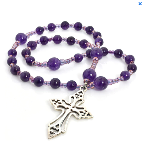 ANGLICAN ROSARY - AMETHYST with Clechée Cross by FULL CIRCLE BEADS