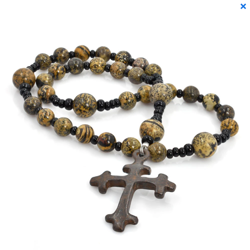 ANGLICAN ROSARY - ARTISTIC STONE - Trefoil Iron Cross by FULL CIRCLE BEADS