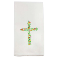 French Graffiti Dish Towel Cross with Flowers