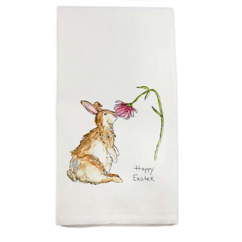 French Graffiti Dish Towel Bunny with Flower