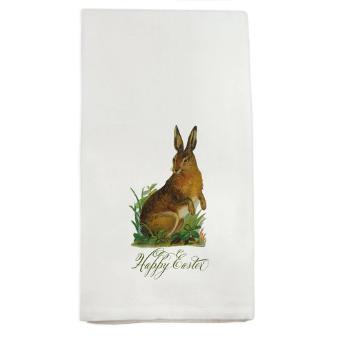 French Graffiti  Dish Towel Happy Easter Brown Bunny