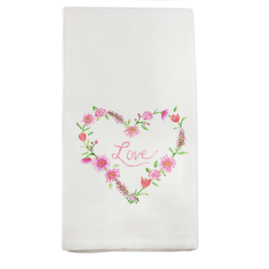 French Graffiti Dish Towel Floral Heart with Love
