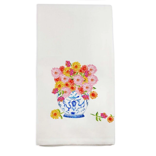 FRENCH GRAFFITI TOWEL GINGER JAR ZINNIAS