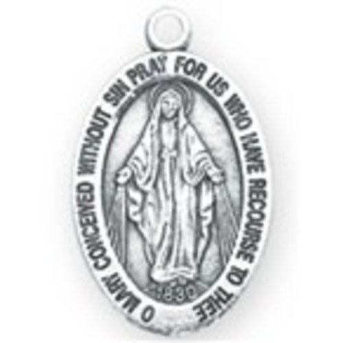 "MIRACULOUS MEDAL PEWTER PENDANT with 18"" chain"