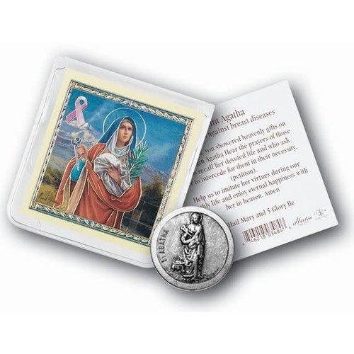 Pocket Coin St Agatha (Breast Cancer) with Prayer Card