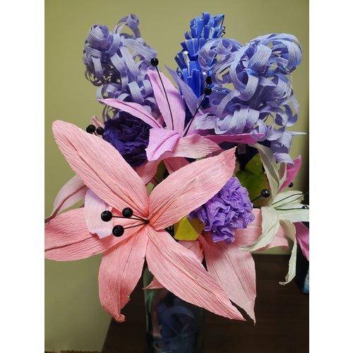 Handmade Paper Flower Bouquet - Pink & Purple