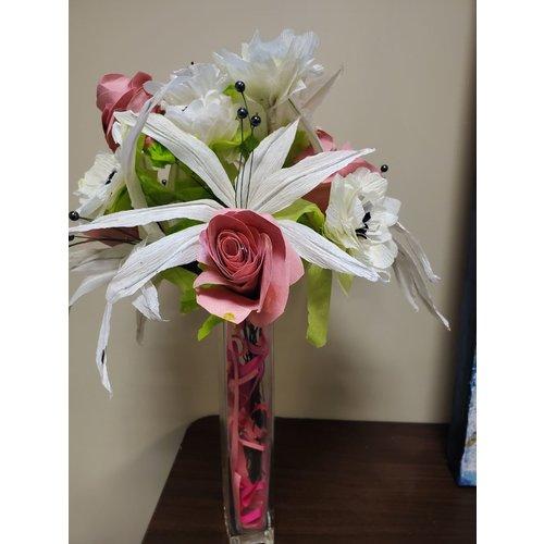 Handmade Paper Flower Bouquet - Pink & White