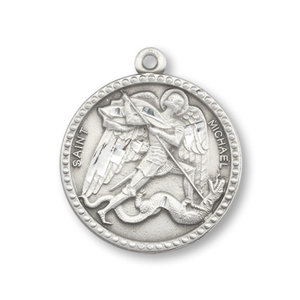"PEWTER ST. Michael Round Pendant with 24"" chain"