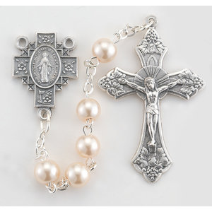 ROSARY Faux Pearl Round Beads Silver Oxidized Crucifix and Center