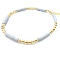 Coastal Bracelet #3 Gold & Light Fog Gray by Erin Gray