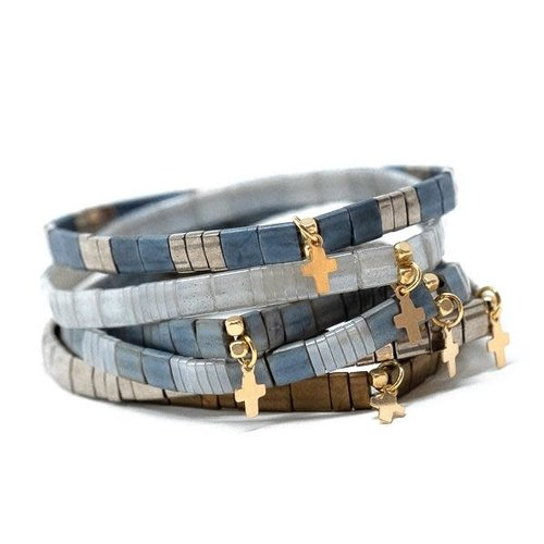 Chiclet Bracelet Charcoal & Gunmetal with Cross by ERIN GRAY