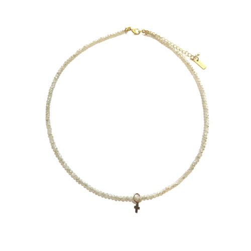 Winter White Necklace with Luxe Cross by Erin Gray