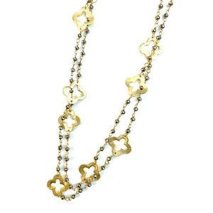 Petite Pyrite Clover Necklace by ERIN GRAY