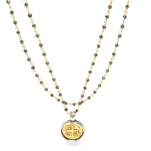 Pyrite Necklace Long with Gold Coin by ERIN GRAY
