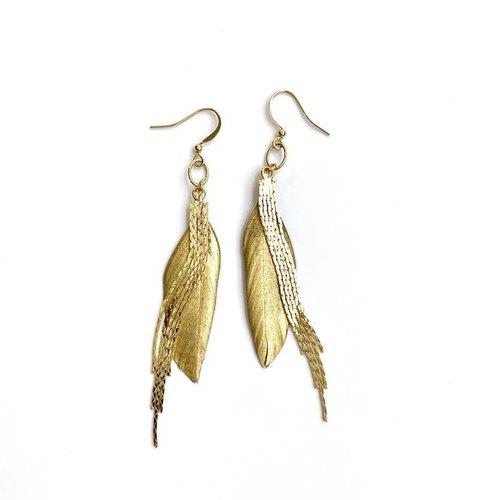 Earrings Feather Dangler Gold by ERIN GRAY