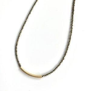 Dusted Gold Bar on Pyrite Necklace by ERIN GRAY