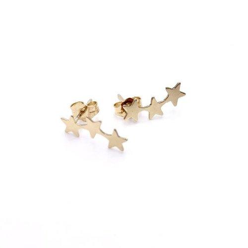 Teen Studs Earrings Triple Gold Stars by Erin Gray