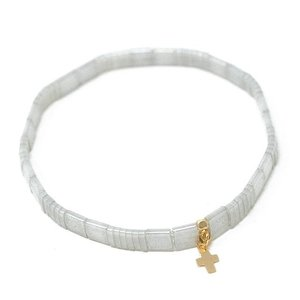 Chiclet Bracelet Gray with Cross by ERIN GRAY
