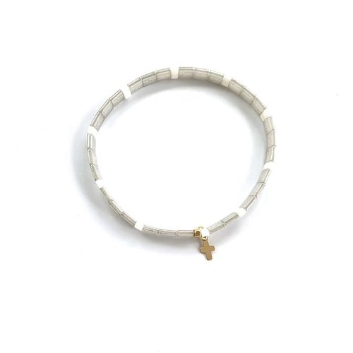 Chiclet Bracelet Gray & Pearl with Cross by ERIN GRAY
