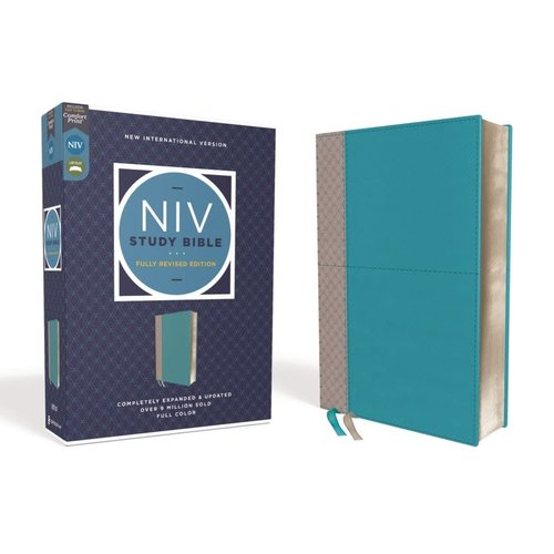 NIV Study Bible Fully Revised Teal Bonded Leather Red Letter