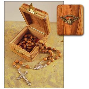 ROSARY & BOX Confirmation Olive Wood