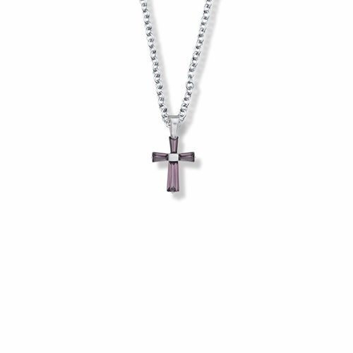 """FEBRUARY BIRTHSTONE CHILD'S CROSS NECKLACE 16"""" CHAIN"""