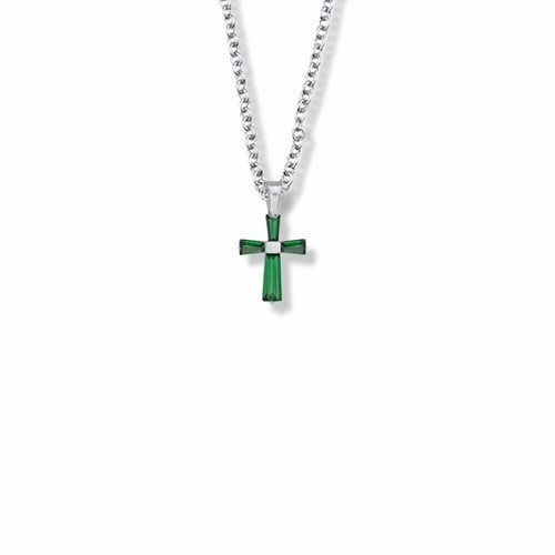 """MAY BIRTHSTONE CROSS CHILD'S NECKLACE 16"""" CHAIN"""