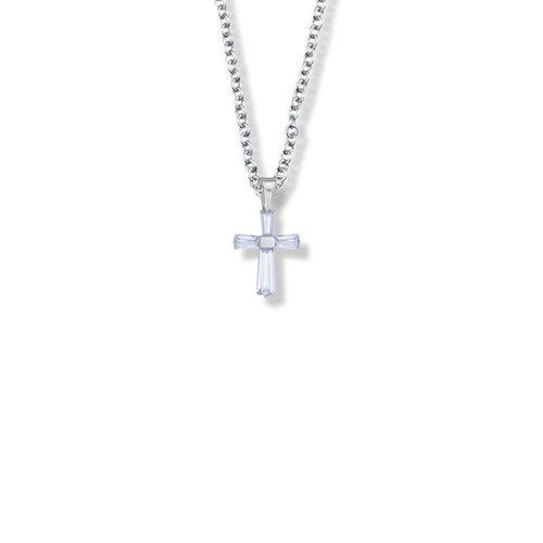 "JUNE BIRTHSTONE CROSS CHILD'S NECKLACE 16"" CHAIN"