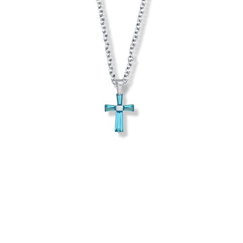 "DECEMBER BIRTHSTONE CROSS CHILD'S NECKLACE 16"" CHAIN"