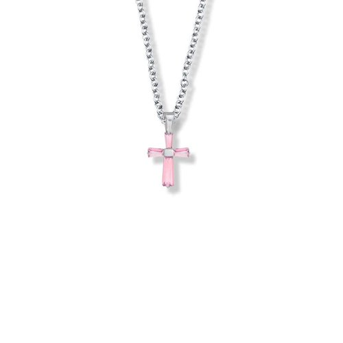 "OCTOBER BIRTHSTONE CROSS CHILD'S NECKLACE 16"" CHAIN"