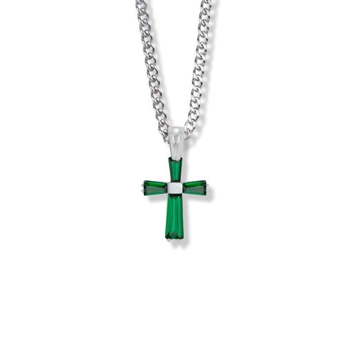 "MAY BIRTHSTONE 3/4"" CROSS NECKLACE 18"" CHAIN"