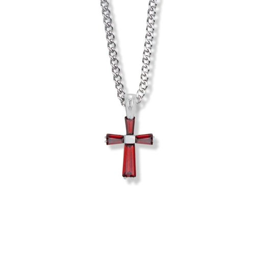 "JULY BIRTHSTONE 3/4"" CROSS NECKLACE 18"" CHAIN"