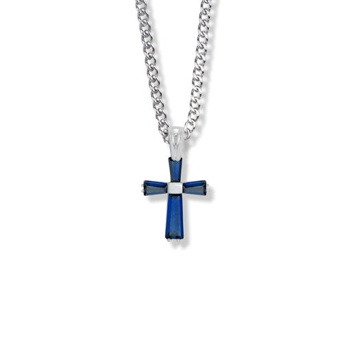 "SEPTEMBER BIRTHSTONE 3/4"" CROSS NECKLACE 18"" CHAIN"