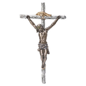 "CRUCIFIX , TWO TONE FINISH 16"" Pewter Style Finish with Cold Cast Bronze Corpus"