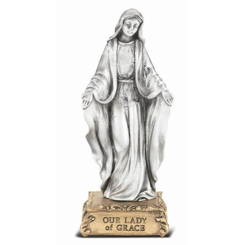 """OUR LADY OF GRACE PEWTER STATUE 4.5"""""""