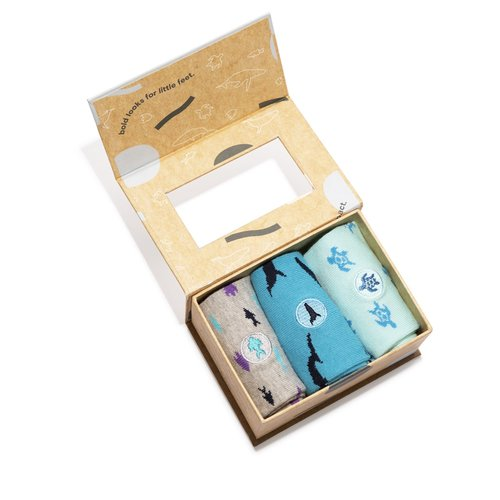 KIDS SOCKS THAT PROTECT OCEANS Set of 3 Toddler Size by Conscious Step