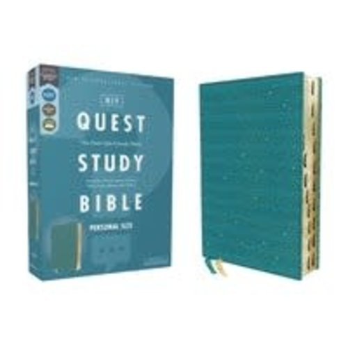 NIV, QUEST STUDY BIBLE, PERSONAL SIZE, LEATHERSOFT, TEAL, THUMB INDEXED, COMFORT PRINT
