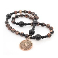 ANGLICAN ROSARY RED SNOWFLAKE OBSIDIAN  BRONZE FINISH LABYRINTH by Full Circle Beads