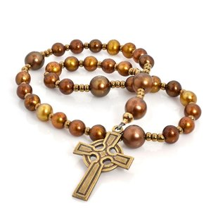 ANGLICAN ROSARY CELTIC CROSS FRESHWATER PEARL BROWN