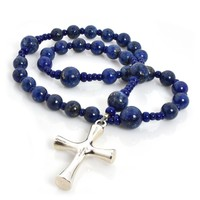 ANGLICAN ROSARY  LAPIS with LATIN STERLING CROSS by Full Circle Beads