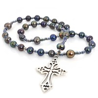 ANGLICAN ROSARY CLECHEE CROSS PEACOCK FRESHWATER PEARL BROWN