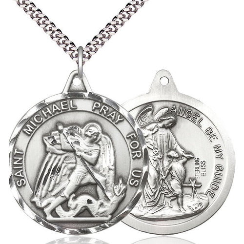 """MEDAL St. Michael Guardian Angel 1.25""""Sterling Silver 24"""" chain"""